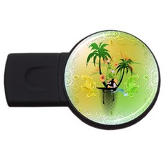 Surfing, Surfboarder With Palm And Flowers And Decorative Floral Elements Usb Flash Drive Round (4 Gb)  by FantasyWorld7