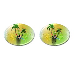 Surfing, Surfboarder With Palm And Flowers And Decorative Floral Elements Cufflinks (oval) by FantasyWorld7