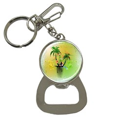 Surfing, Surfboarder With Palm And Flowers And Decorative Floral Elements Bottle Opener Key Chains by FantasyWorld7