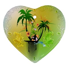 Surfing, Surfboarder With Palm And Flowers And Decorative Floral Elements Heart Ornament (2 Sides) by FantasyWorld7
