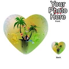 Surfing, Surfboarder With Palm And Flowers And Decorative Floral Elements Multi Purpose Cards (heart)  by FantasyWorld7