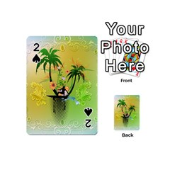Surfing, Surfboarder With Palm And Flowers And Decorative Floral Elements Playing Cards 54 (mini)
