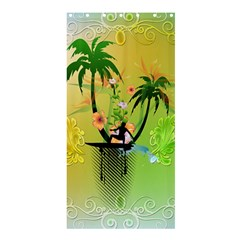 Surfing, Surfboarder With Palm And Flowers And Decorative Floral Elements Shower Curtain 36  X 72  (stall)  by FantasyWorld7