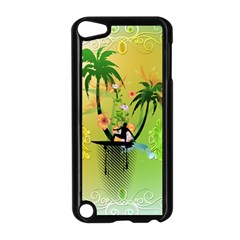 Surfing, Surfboarder With Palm And Flowers And Decorative Floral Elements Apple Ipod Touch 5 Case (black) by FantasyWorld7