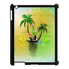 Surfing, Surfboarder With Palm And Flowers And Decorative Floral Elements Apple Ipad 3/4 Case (black) by FantasyWorld7