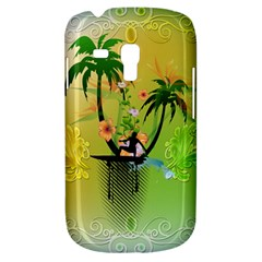 Surfing, Surfboarder With Palm And Flowers And Decorative Floral Elements Samsung Galaxy S3 Mini I8190 Hardshell Case by FantasyWorld7