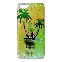 Surfing, Surfboarder With Palm And Flowers And Decorative Floral Elements Iphone 5s Premium Hardshell Case by FantasyWorld7