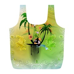 Surfing, Surfboarder With Palm And Flowers And Decorative Floral Elements Full Print Recycle Bags (l)  by FantasyWorld7