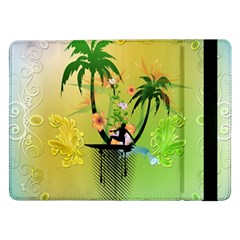 Surfing, Surfboarder With Palm And Flowers And Decorative Floral Elements Samsung Galaxy Tab Pro 12 2  Flip Case by FantasyWorld7