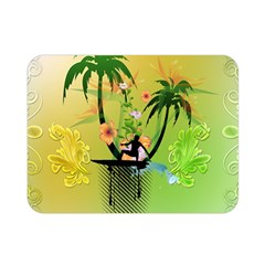 Surfing, Surfboarder With Palm And Flowers And Decorative Floral Elements Double Sided Flano Blanket (mini)  by FantasyWorld7