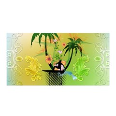 Surfing, Surfboarder With Palm And Flowers And Decorative Floral Elements Satin Wrap by FantasyWorld7