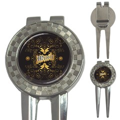 Music The Word With Wonderful Decorative Floral Elements In Gold 3 In 1 Golf Divots by FantasyWorld7