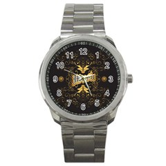 Music The Word With Wonderful Decorative Floral Elements In Gold Sport Metal Watches by FantasyWorld7
