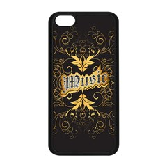 Music The Word With Wonderful Decorative Floral Elements In Gold Apple Iphone 5c Seamless Case (black) by FantasyWorld7
