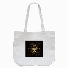 Music The Word With Wonderful Decorative Floral Elements In Gold Tote Bag (white)  by FantasyWorld7
