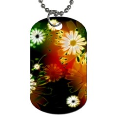 Awesome Flowers In Glowing Lights Dog Tag (two Sides) by FantasyWorld7