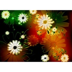 Awesome Flowers In Glowing Lights Birthday Cake 3d Greeting Card (7x5)  by FantasyWorld7