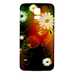Awesome Flowers In Glowing Lights Samsung Galaxy S5 Back Case (white) by FantasyWorld7