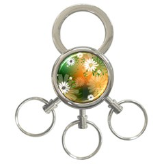 Beautiful Flowers With Leaves On Soft Background 3 Ring Key Chains by FantasyWorld7