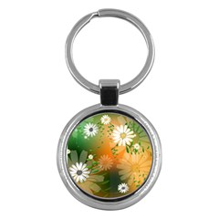 Beautiful Flowers With Leaves On Soft Background Key Chains (round)  by FantasyWorld7