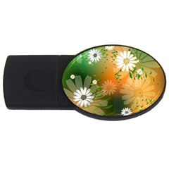 Beautiful Flowers With Leaves On Soft Background Usb Flash Drive Oval (4 Gb)  by FantasyWorld7