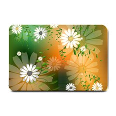 Beautiful Flowers With Leaves On Soft Background Small Doormat  by FantasyWorld7