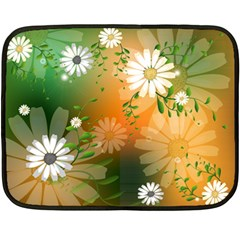 Beautiful Flowers With Leaves On Soft Background Double Sided Fleece Blanket (mini)  by FantasyWorld7