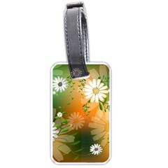 Beautiful Flowers With Leaves On Soft Background Luggage Tags (one Side)  by FantasyWorld7