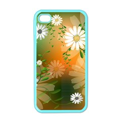 Beautiful Flowers With Leaves On Soft Background Apple Iphone 4 Case (color) by FantasyWorld7