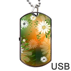Beautiful Flowers With Leaves On Soft Background Dog Tag Usb Flash (one Side) by FantasyWorld7