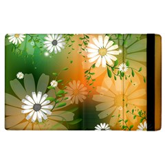 Beautiful Flowers With Leaves On Soft Background Apple iPad 3/4 Flip Case by FantasyWorld7