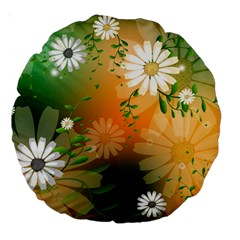 Beautiful Flowers With Leaves On Soft Background Large 18  Premium Round Cushions by FantasyWorld7