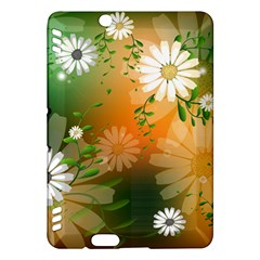 Beautiful Flowers With Leaves On Soft Background Kindle Fire Hdx Hardshell Case by FantasyWorld7
