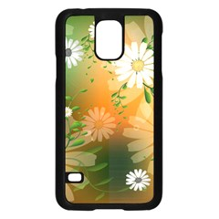 Beautiful Flowers With Leaves On Soft Background Samsung Galaxy S5 Case (black) by FantasyWorld7