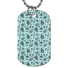 Vintage Paisley Aqua Dog Tag (two Sides) by MoreColorsinLife