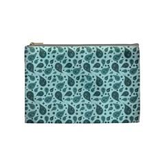 Vintage Paisley Aqua Cosmetic Bag (medium)  by MoreColorsinLife