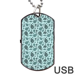 Vintage Paisley Aqua Dog Tag Usb Flash (one Side) by MoreColorsinLife