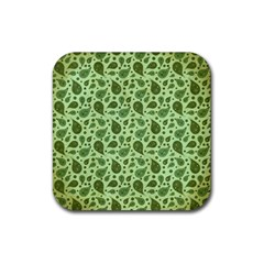 Vintage Paisley Green Rubber Square Coaster (4 Pack)  by MoreColorsinLife