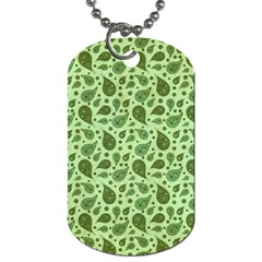 Vintage Paisley Green Dog Tag (one Side) by MoreColorsinLife