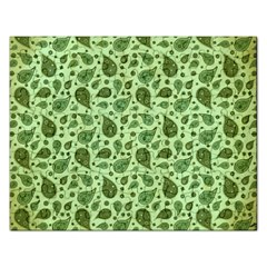 Vintage Paisley Green Rectangular Jigsaw Puzzl by MoreColorsinLife
