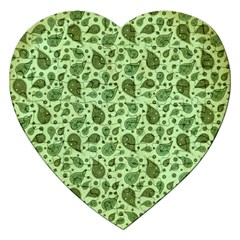 Vintage Paisley Green Jigsaw Puzzle (heart) by MoreColorsinLife