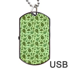 Vintage Paisley Green Dog Tag Usb Flash (one Side) by MoreColorsinLife