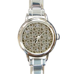 Vintage Paisley Grey Round Italian Charm Watches by MoreColorsinLife