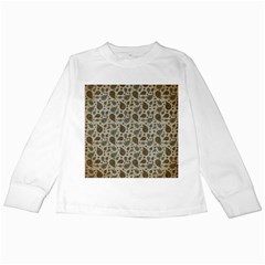 Vintage Paisley Grey Kids Long Sleeve T Shirts by MoreColorsinLife