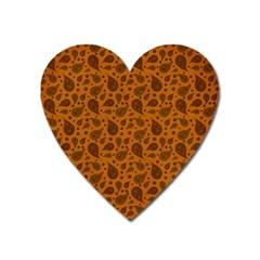 Vintage Paisley Terra Heart Magnet by MoreColorsinLife