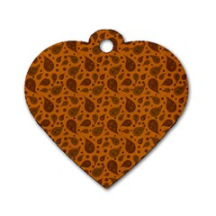 Vintage Paisley Terra Dog Tag Heart (One Side) by MoreColorsinLife