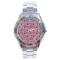 Vintage Paisley Pink Stainless Steel Men s Watch by MoreColorsinLife