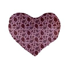 Vintage Paisley Pink Standard 16  Premium Heart Shape Cushions