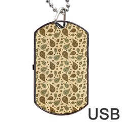 Vintage Paisley Dog Tag Usb Flash (one Side) by MoreColorsinLife