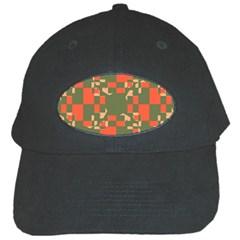 Green Orange Shapes Black Cap by LalyLauraFLM